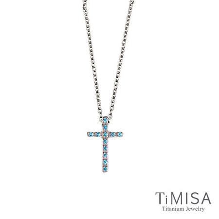 【TiMISA】小藍鑽十字 純鈦(極細鎖骨)項鍊(B)