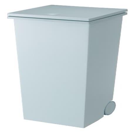 日本知名《kcud》正方形 時尚 垃圾桶(附輪)-藍綠