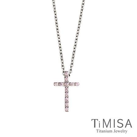 【TiMISA】小粉鑽十字 純鈦(極細鎖骨)項鍊(B)