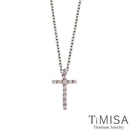 【TiMISA】小白鑽十字 純鈦(極細鎖骨)項鍊(B)