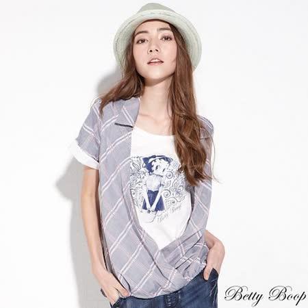 【Betty Boop貝蒂】假兩件配色菱格紋鬆緊下擺襯衫(共二色)