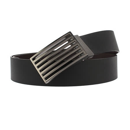 Calvin Klein CK 鏤空金屬旋轉扣頭雙面扣式皮帶-黑/咖啡