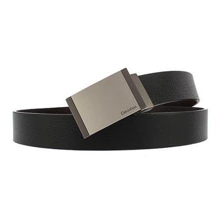 Calvin Klein CK 簡約霧面扣頭荔枝紋雙面扣式皮帶-黑/咖啡