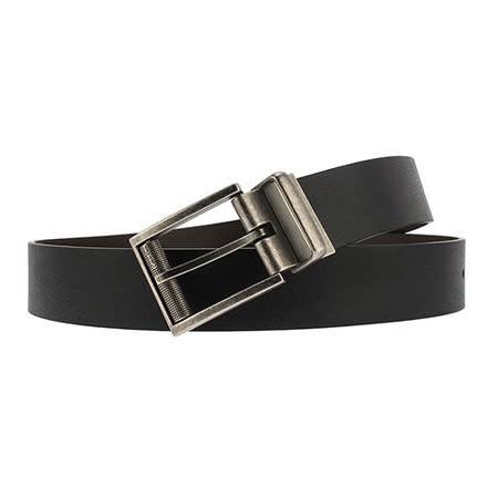 Calvin Klein CK 個性仿舊質感扣頭穿式皮帶-黑/咖啡
