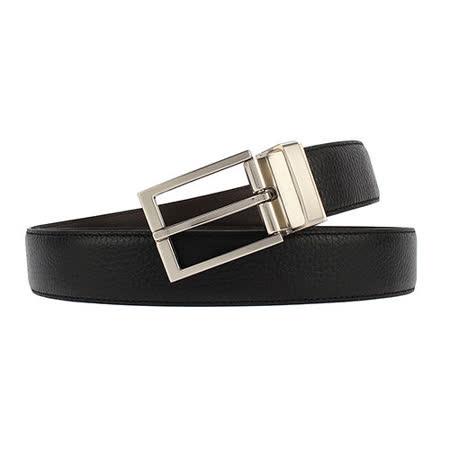 Calvin Klein CK 簡約拋光扣頭荔枝紋雙面穿式皮帶-黑/咖啡