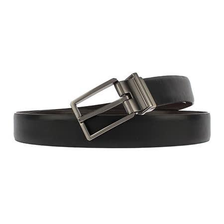 Calvin Klein CK 時尚銀灰色扣頭細版雙面穿式皮帶-黑/咖啡