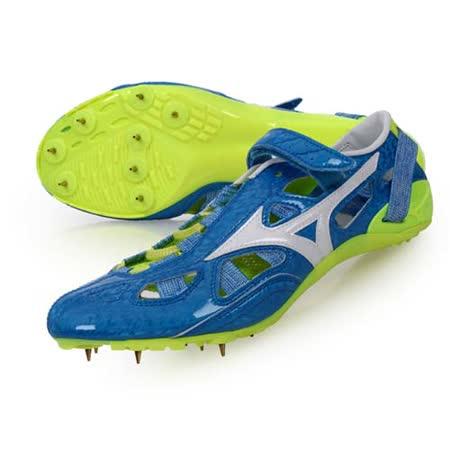 (男) MIZUNO CHRONO INX 9 日製田徑釘鞋-競賽 短距離 藍白螢光綠