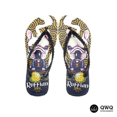 【QWQ】創意設計夾腳拖鞋-Ruffian Dog-黑(無鑽)