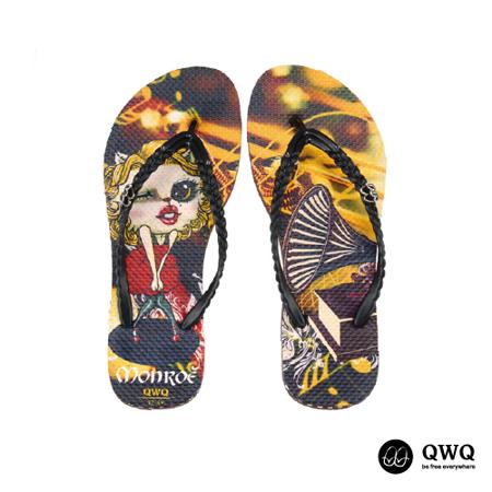 【QWQ】創意設計夾腳拖鞋-Monroe Cat-咖啡(無鑽)