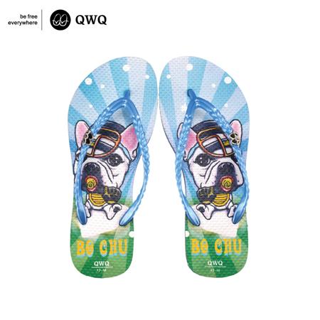 【QWQ】創意設計夾腳拖鞋-Bo Chu-藍(無鑽)