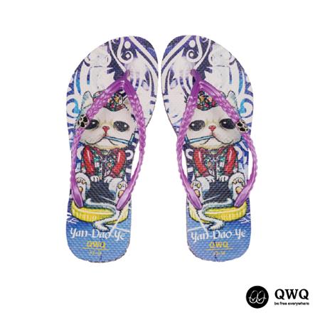 【QWQ】創意設計夾腳拖鞋-Yan Dao Ye-紫(無鑽)