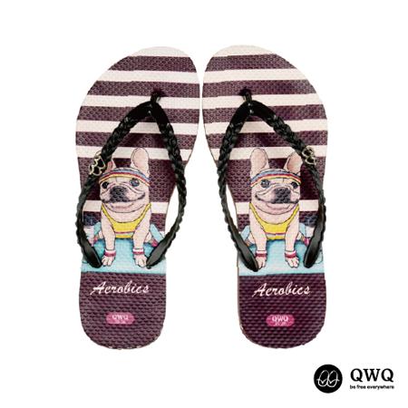 【QWQ】創意設計夾腳拖鞋-Aerobics-咖啡(無鑽)