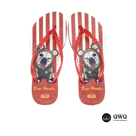 【QWQ】創意設計夾腳拖鞋-Bear Hoodie-紅(無鑽)