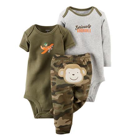 美國 Carter / Carter's 嬰幼兒包屁衣與長褲屁屁圖案三件組_調皮猴子_CTBBP003