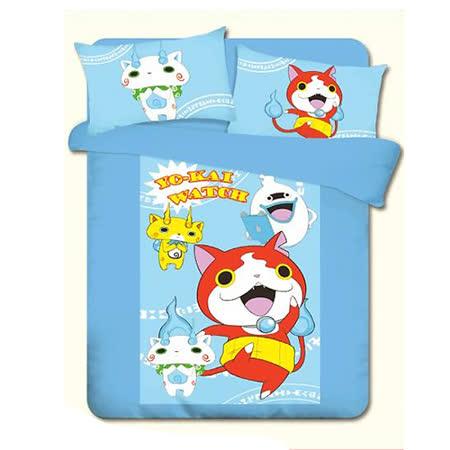 【妖怪手錶】吉胖喵誕生的秘密單人床包二件組 3.5x6.2尺(105x186公分)