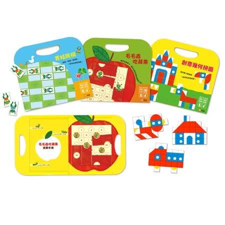 【上誼】《手提磁貼遊戲書組-青蛙跳棋、創意幾何拼圖、毛毛蟲吃蘋果》