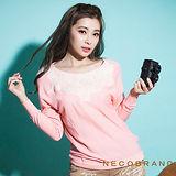 【NECOBRAND】蕾絲花拼接縮下擺針織長袖上衣(粉紅/藍/黃)