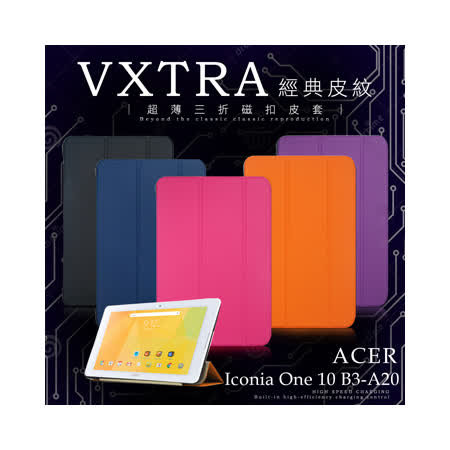 VXTRA 宏碁 ACER Iconia One 10 B3-A20 經典皮紋超薄三折保護套