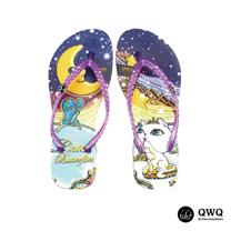 【QWQ】創意設計夾腳拖鞋-Catch Butterflies-紫(無鑽)