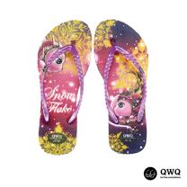 【QWQ】創意設計夾腳拖鞋-Snowflake-紫(無鑽)