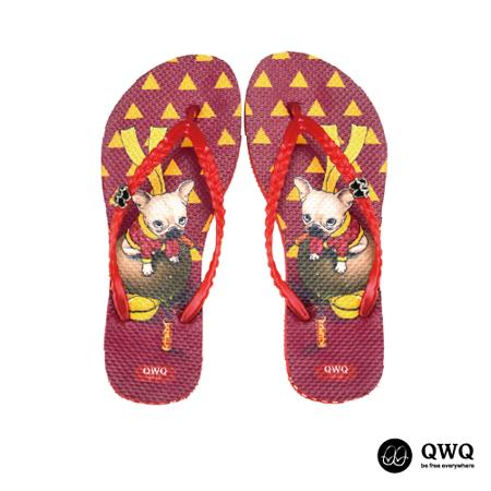 【QWQ】創意設計夾腳拖鞋-New Year-紅(無鑽)
