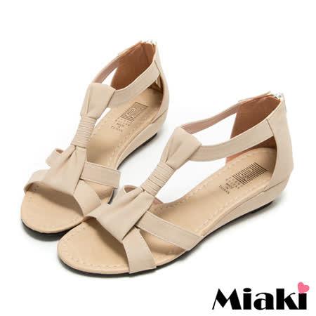 【Miaki】MIT 極簡時尚T字露趾坡跟楔型涼鞋 (米色)
