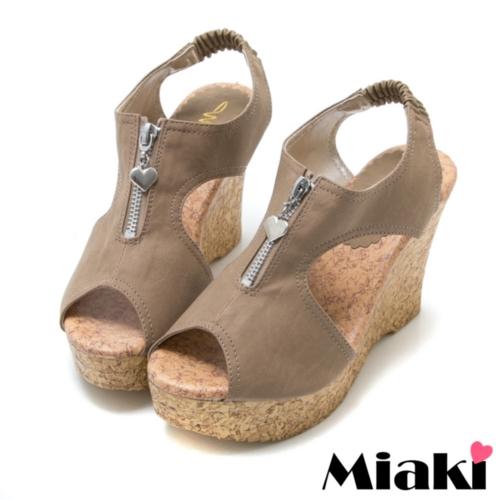 ~Miaki~MIT 涼鞋坡跟 魚口楔型包鞋 ^(可可色^)