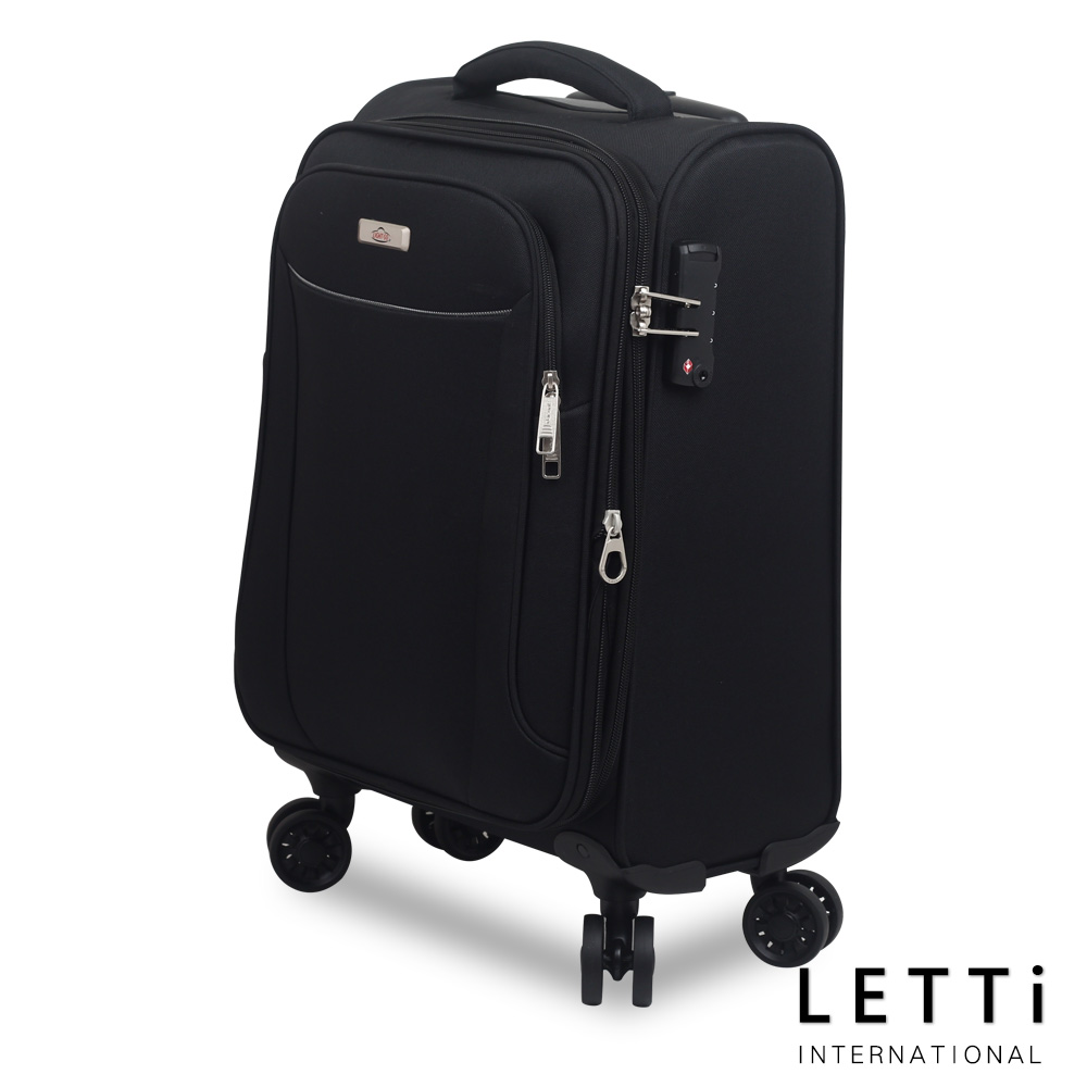 【LETTi】Ligh愛 買 紅酒 推薦t 24吋 極輕量飛機輪可擴充旅行布箱-黑色