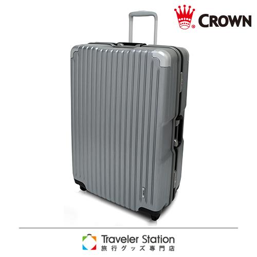 《海外 刷卡 優惠Traveler Station》CROWN 29吋質感暗湧氣質再臨 鋁框拉桿箱-珍珠銀+鋁線