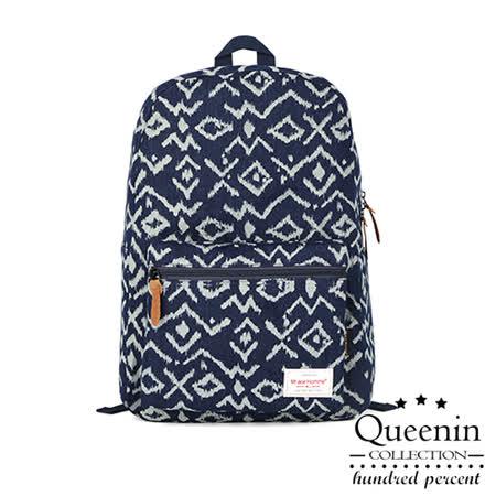 DF Queenin日韓 - 日系文藝圖騰風帆布款後背包