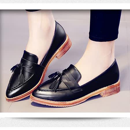 《JOYCE》英倫學院風雅典擦色流蘇鞋