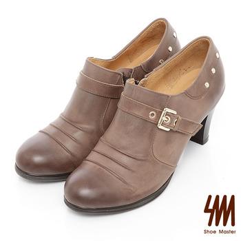 SM-台灣製全真皮-金屬鉚釘個性孟克鞋-可可色