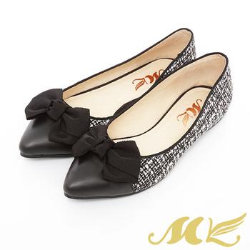 MK-台灣製全真皮-毛呢尖頭蝴蝶結娃娃鞋-黑色