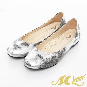 MK-台灣製全真皮-金屬生鏽感復古娃娃鞋-銀
