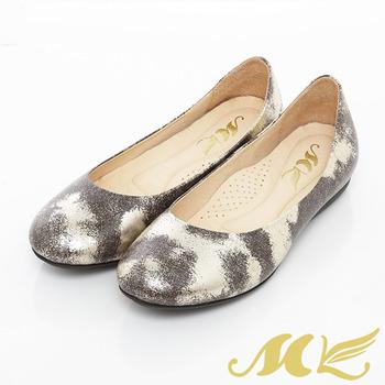 MK-台灣製全真皮-金屬生鏽感復古娃娃鞋-金