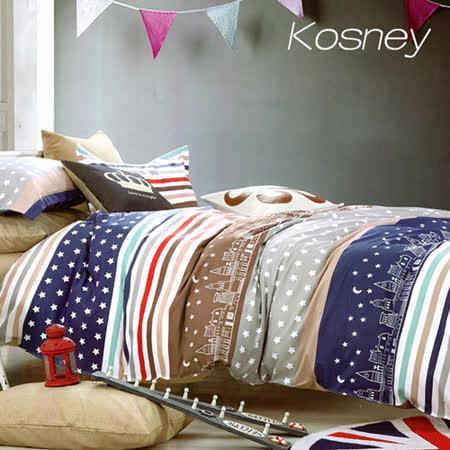 《KOSNEY 城市星空》雙人精梳棉四件式兩用被床包組