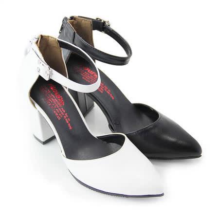 【Pretty】迷人氣質後拉鍊繫踝高跟尖頭鞋