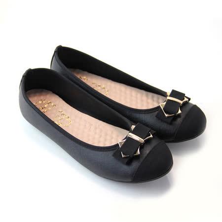 【Pretty】大尺碼-典雅朵結金屬拼接平底娃娃鞋