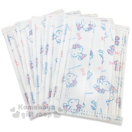 〔小禮堂〕Hello Kitty 幼童平面口罩《5入.藍.蝴蝶結.坐姿》感冒對策用品