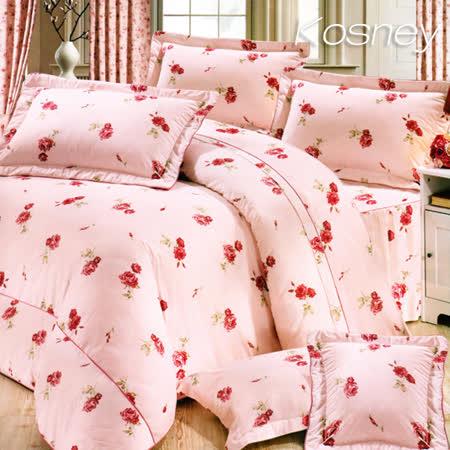 《KOSNEY 仙女花語》雙人100%活性精梳棉六件式床罩組台灣製