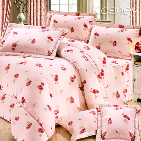 《KOSNEY 仙女花語》加大100%活性精梳棉六件式床罩組台灣製