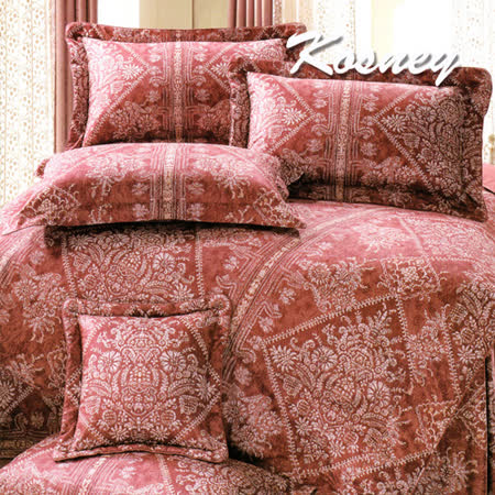 《KOSNEY 猴年賀喜紅》加大100%活性精梳棉六件式床罩組台灣製