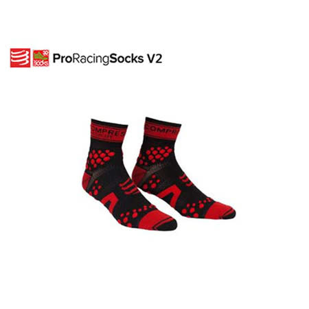 (男) COMPRESSPORT TRAIL HI壓縮短襪-單車 慢跑 路跑 鐵人三項 襪子 黑紅 T2