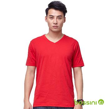 bossini男裝-素色V領T恤14紅
