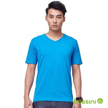 bossini男裝-素色V領T恤14藍紫