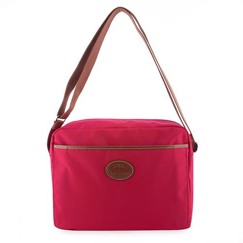 Longchamp 中性拉鍊尼龍斜背大方包-艷紅色