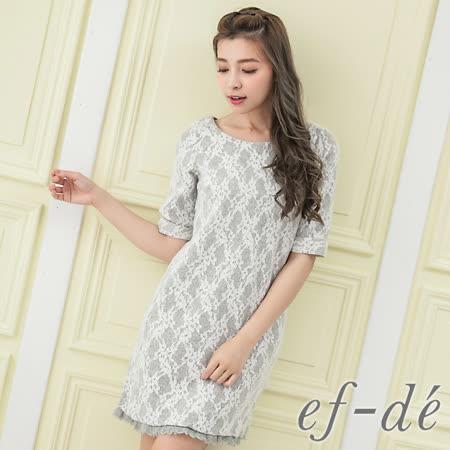 【ef-de】激安 蕾絲網花拼接五分袖洋裝(白花/粉紅花/藍花)
