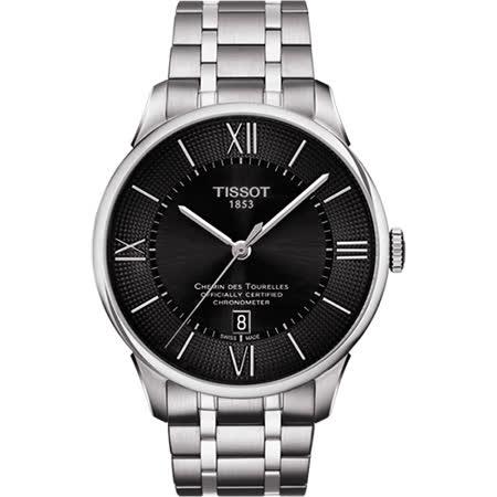 TISSOT 杜魯爾系列COSC 天文台認證機械腕錶-黑/42mm T0994081105800