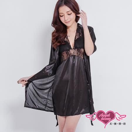 【天使霓裳】性感睡袍 玫瑰雕花蕾絲外罩睡衣組(黑F)