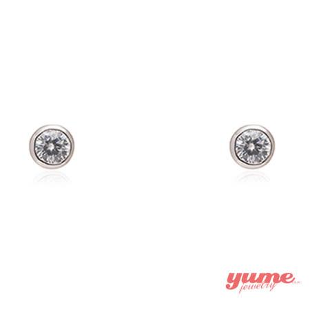 【YUME】5mm包鑲單鑽耳環